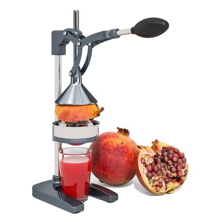 Manual pomegranate or citrus juicer with glass of pomegranate juice and pomegranates, 3D rendering isolated on white background Stockfoto