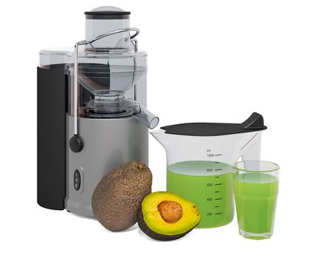 Avocado juice with electric juicer, 3D rendering isolated on white background
