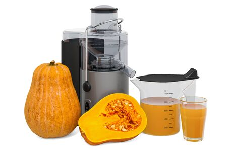 Pumpkin juice with electric juicer, 3D rendering isolated on white background Standard-Bild - 133683396