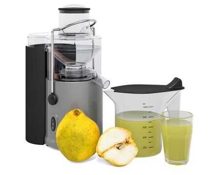 Quince juice with electric juicer, 3D rendering isolated on white background