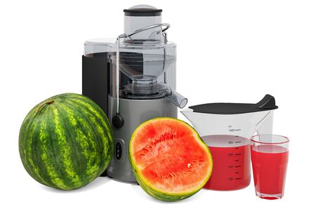 Watermelon juice with electric juicer, 3D rendering isolated on white background Standard-Bild - 133683399