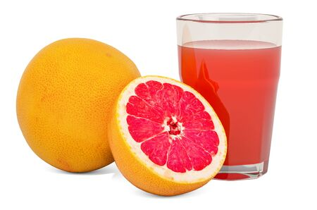 Glass of grapefruit juice with grapefruits, 3D rendering isolated on white background