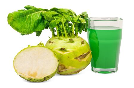 Glass of kohlrabi juice with kohlrabi, 3D rendering isolated on white background