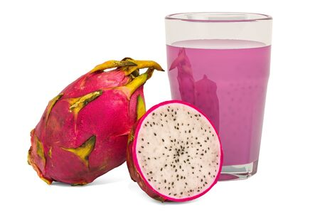 Glass of pitaya juice with dragon fruits, 3D rendering isolated on white background Stok Fotoğraf