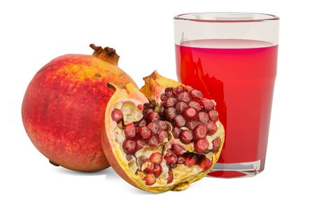Glass of pomegranate juice with pomegranates, 3D rendering isolated on white background