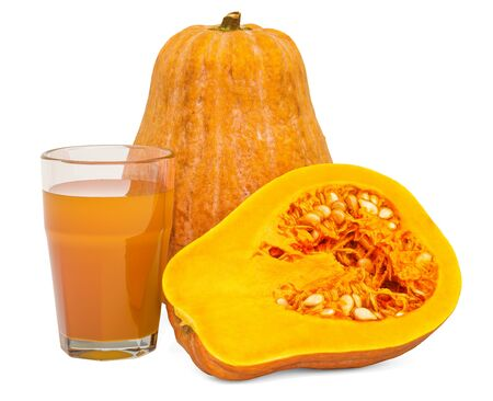 Glass of pumpkin juice with squashes, 3D rendering isolated on white background Stok Fotoğraf