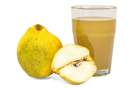Glass of quinces juice with  quinces, 3D rendering isolated on white background Stok Fotoğraf