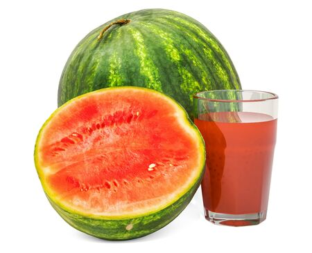 Glass of watermelon juice with watermelon, 3D rendering isolated on white background