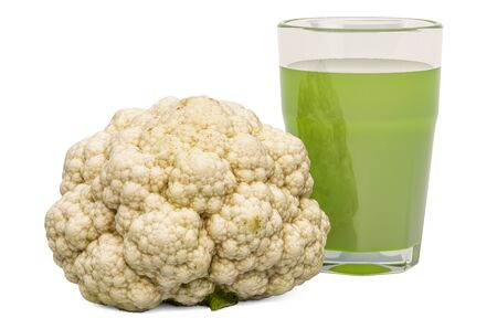 Glass of broccoli cabbage juice with broccoli, 3D rendering isolated on white background