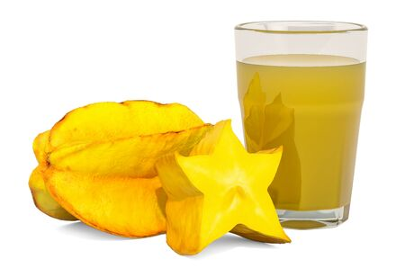 Glass of carambola juice with carambola, 3D rendering isolated on white background