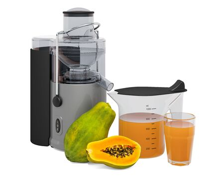 Papaya juice with electric juicer, 3D rendering isolated on white background Stock fotó - 133849321