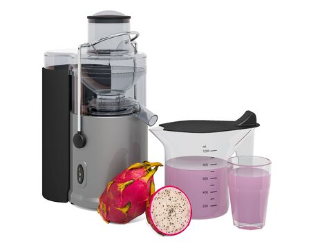 Pitaya juice with electric juicer, 3D rendering isolated on white background Stock fotó