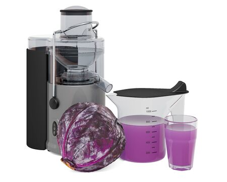 Purple cabbage juice with electric juicer, 3D rendering isolated on white background