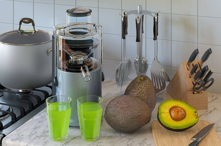 Avocado juice and electric juicer on kitchen table. 3D rendering Stock fotó