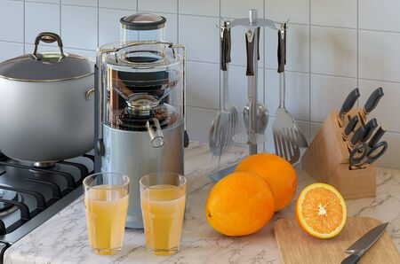 Orange juice and electric juicer on kitchen table. 3D rendering Stock fotó