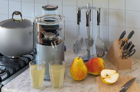 Pear juice and electric juicer on kitchen table. 3D rendering