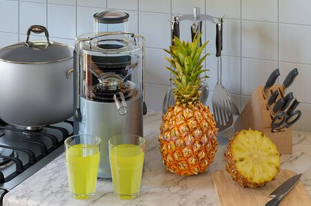 Pineapple juice and electric juicer on kitchen table. 3D rendering Stock fotó