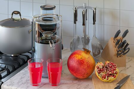 Pomegranate juice and electric juicer on kitchen table. 3D rendering