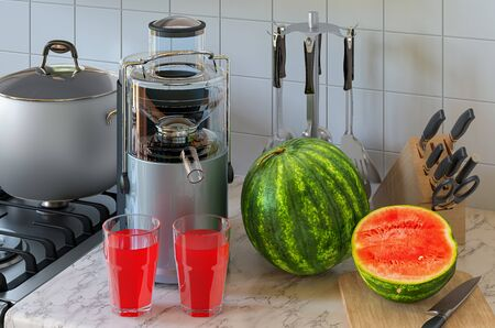 Watermelon juice and electric juicer on kitchen table. 3D rendering Stockfoto