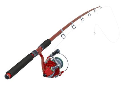 Red Fishing Rod, 3D rendering isolated on white background