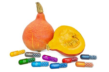 Vitamins and minerals of hokkaido pumpkin, 3D rendering isolated on white background