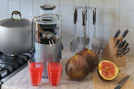 Common fig juice and electric juicer on kitchen table. 3D rendering
