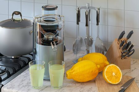 Lemon juice and electric juicer on kitchen table. 3D rendering