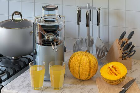 Melon juice and electric juicer on kitchen table. 3D rendering