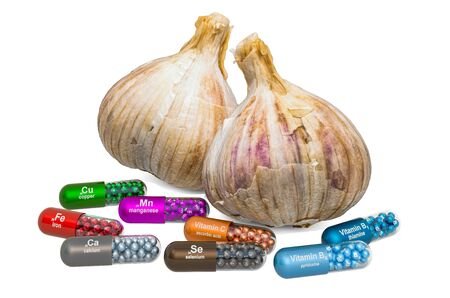 Vitamins and minerals of garlic, 3D rendering isolated on white background