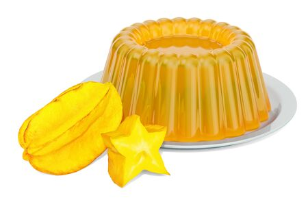 Carambola Jelly on a plate with starfruits, 3D rendering isolated on white background