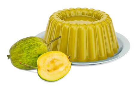 Feijoa Jelly on a plate with feijoas, 3D rendering isolated on white background