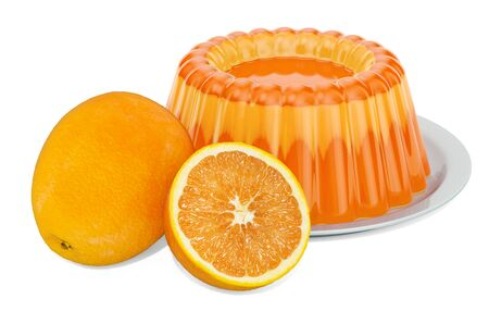 Orange Jelly on a plate with oranges, 3D rendering isolated on white background Stok Fotoğraf