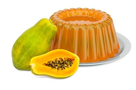Papaya Jelly on a plate with papayas, 3D rendering isolated on white background Stok Fotoğraf