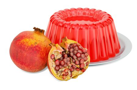 Pomegranate Jelly on a plate with pomegranates, 3D rendering isolated on white background