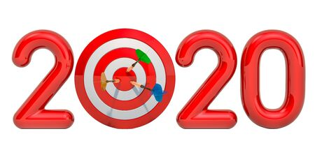 Target and mission of 2020 New Year concept, 3D rendering isolated on white background