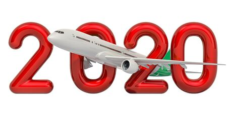 2020 concept with aeroplane, 3D rendering isolated on white background Stock Photo