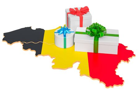 Gift boxes on the Belgian map. Christmas and New Year holidays in Belgium concept. 3D rendering isolated on white background