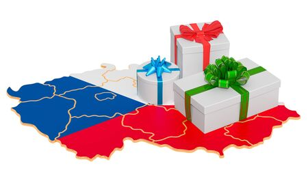 Gift boxes on the Czech Republic map. Christmas and New Year holidays in Czech Republic concept. 3D rendering isolated on white background