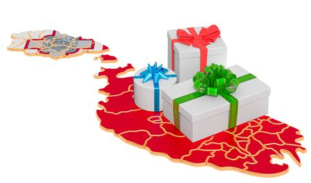 Gift boxes on the Maltese map. Christmas and New Year holidays in Malta concept. 3D rendering isolated on white background
