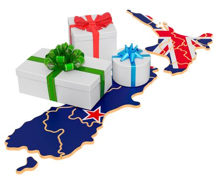 Gift boxes on the New Zealand map. Christmas and New Year holidays in New Zealand concept. 3D rendering isolated on white background