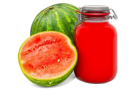 Jar of Watermelon Jam with watermelon, 3D rendering isolated on white background Stok Fotoğraf