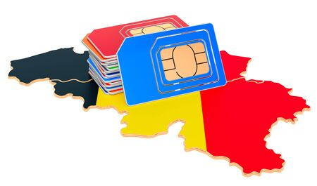 Sim cards on the Belgian map. Mobile communications, roaming in Belgium, concept. 3D rendering isolated on white background Imagens