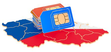 Sim cards on the Czech Republic map. Mobile communications, roaming in Czech Republic, concept. 3D rendering isolated on white background