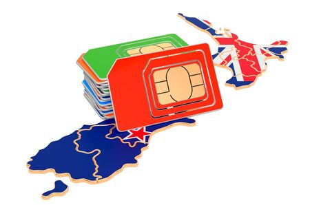 Sim cards on the New Zealand map. Mobile communications, roaming in New Zealand, concept. 3D rendering isolated on white background