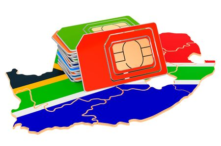 Sim cards on the South African map. Mobile communications, roaming in South Africa, concept. 3D rendering isolated on white background