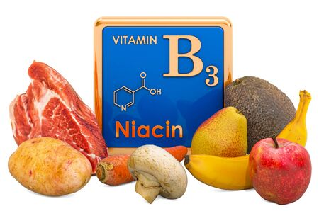 Foods Highest in Vitamin B3, Niacin. 3D rendering isolated on white background