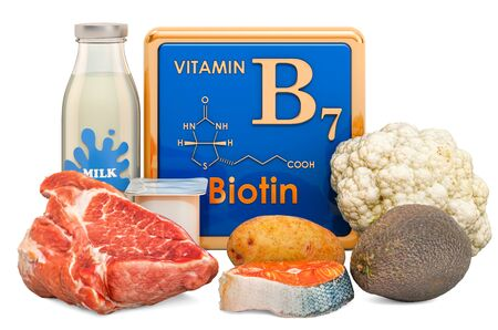 Foods Highest in Vitamin B7, Biotin. 3D rendering isolated on white background