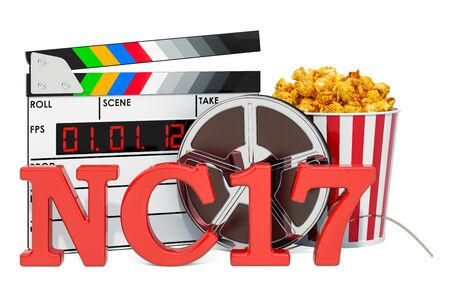 NC-17 Adults Only, film rating system concept. 3D rendering isolated on white background 스톡 콘텐츠