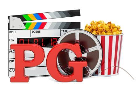 PG 가이던스 제안, 영화 등급 시스템 개념. 흰색 배경에 고립 된 3D 렌더링