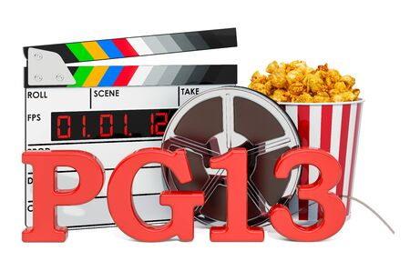 PG-13 Parents Strongly Cautioned, film rating system concept. 3D rendering isolated on white background 스톡 콘텐츠